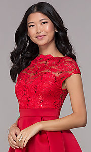 Image of short sequin-lace-bodice red party dress. Style: CL-46395 Detail Image 1