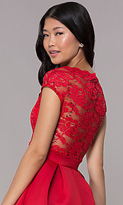 Image of short sequin-lace-bodice red party dress. Style: CL-46395 Detail Image 2