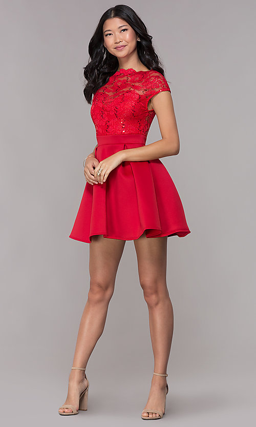 Image of short sequin-lace-bodice red party dress. Style: CL-46395 Detail Image 3
