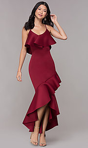 Image of popover burgundy high-low wedding-guest party dress. Style: CL-46713 Front Image