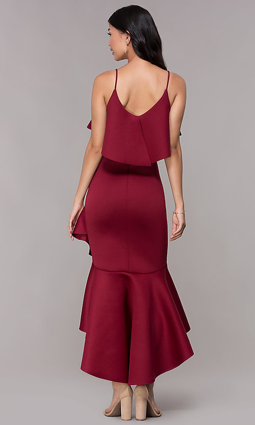 Image of popover burgundy high-low wedding-guest party dress. Style: CL-46713 Back Image