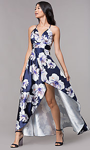 Image of high-low floral-print navy v-neck party dress. Style: CL-46493 Front Image