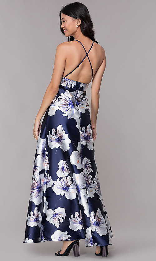 Image of high-low floral-print navy v-neck party dress. Style: CL-46493 Back Image