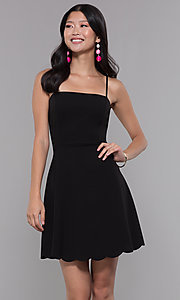 Image of scalloped-hem short black wedding-guest party dress. Style: SOP-D17484MZN Front Image