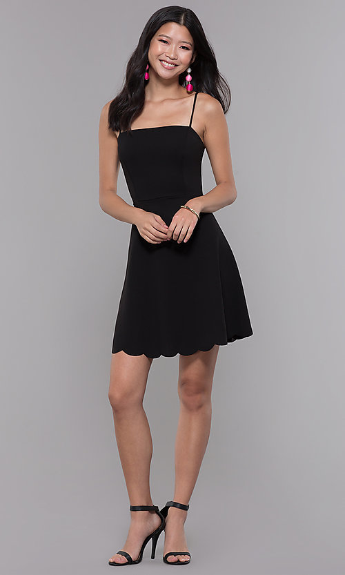 Image of scalloped-hem short black wedding-guest party dress. Style: SOP-D17484MZN Detail Image 3
