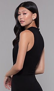 Image of knee-length knotted-waist black wedding-guest dress. Style: SOP-D16703HRL Detail Image 2