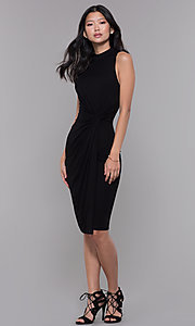 Image of knee-length knotted-waist black wedding-guest dress. Style: SOP-D16703HRL Detail Image 3