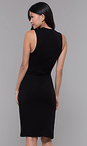 Image of knee-length knotted-waist black wedding-guest dress. Style: SOP-D16703HRL Back Image