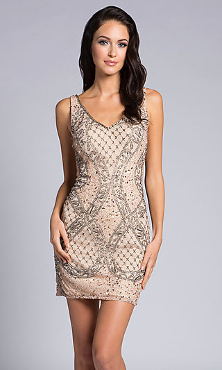 Short Beaded Fitted Homecoming Dress with a V-Back