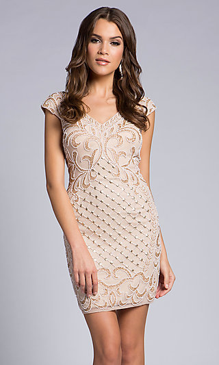 Beaded V-Neck Homecoming Dress with Cap Sleeves