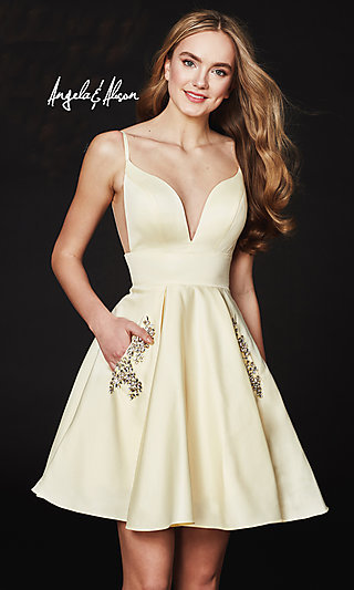 V-Neck Open-Back Homecoming Dress with Pockets