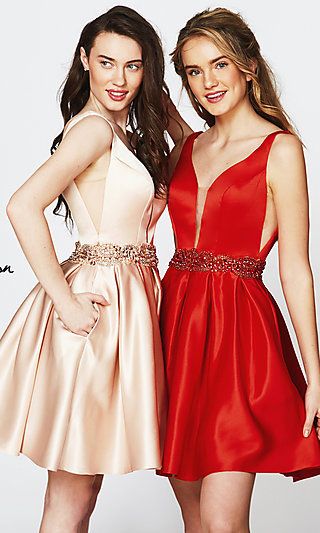 V-Neck Homecoming Dress with a Beaded Waist
