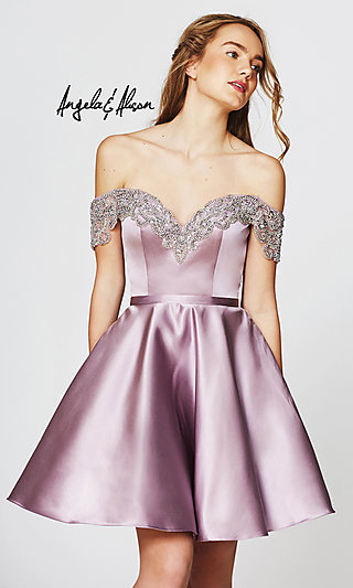 Off-the-Shoulder Angela and Alison Homecoming Dress