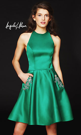 Open-Back Halter Homecoming Dress with Pockets