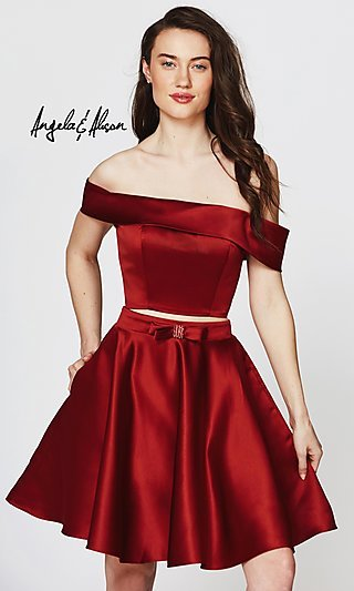Off-the-Shoulder Homecoming Dress with a Bow