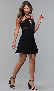 Image of little black party dress with bodice cut outs. Style: EM-HBM-1027-001 Detail Image 3
