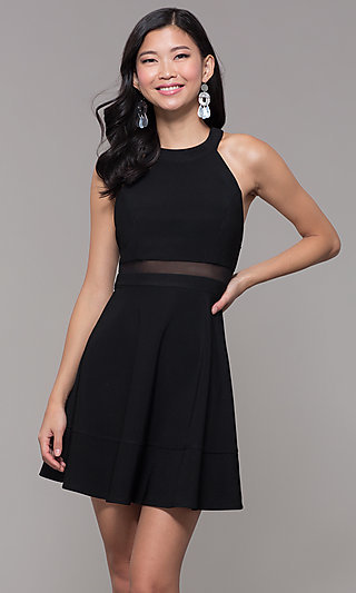 Open-Back Short Black Holiday Party Dress