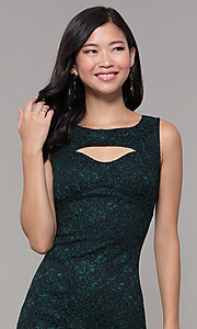 Image of short glitter lace holiday party dress. Style: EM-BKD-3928-024 Detail Image 1