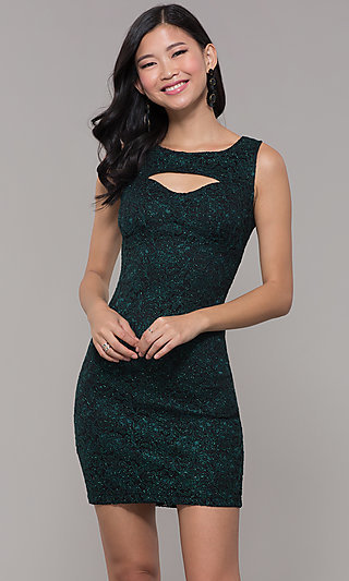 Short Glitter Lace Holiday Party Dress