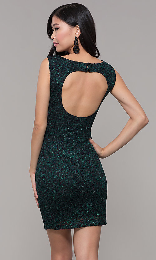Image of short glitter lace holiday party dress. Style: EM-BKD-3928-024 Back Image