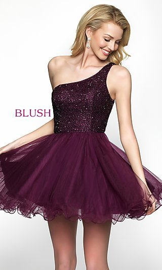 Babydoll-Style One-Shoulder Homecoming Dress