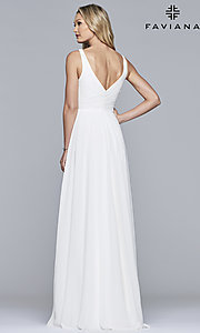 Image of long sleeveless classic chiffon formal dress. Style: FA-S10177 Detail Image 4