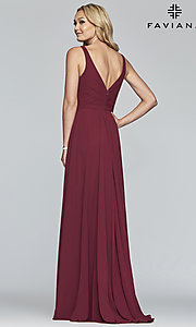Image of long sleeveless classic chiffon formal dress. Style: FA-S10177 Detail Image 6