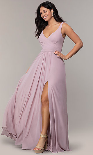 Long Sleeveless Classic Chiffon Formal Dress