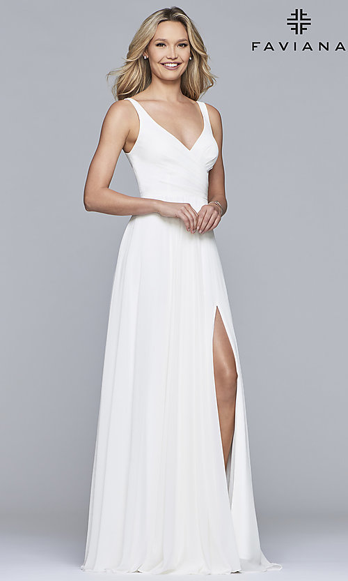Image of long sleeveless classic chiffon formal dress. Style: FA-S10177 Detail Image 3