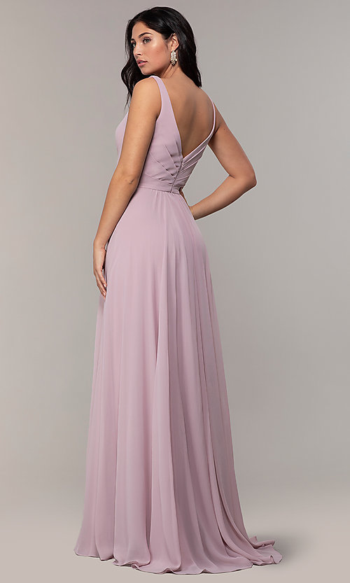 Image of long sleeveless classic chiffon formal dress. Style: FA-S10177 Back Image