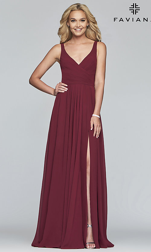 Image of long sleeveless classic chiffon formal dress. Style: FA-S10177 Detail Image 5
