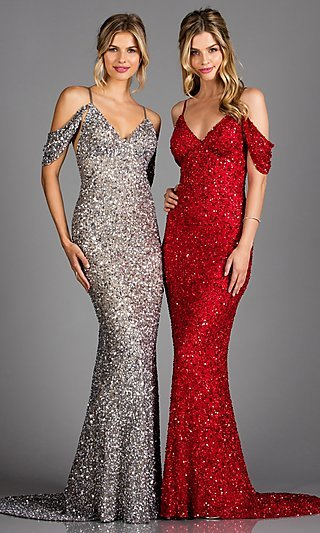 Sequin Cold-Shoulder Formal Dress with a Train