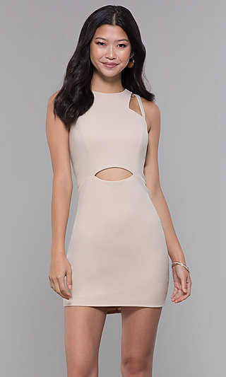 Jersey Short Wedding-Guest Party Dress with Cut Outs