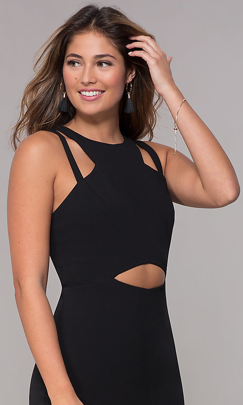 a3d46d93ed0 Image of jersey short wedding-guest party dress with cut outs. Style  JU