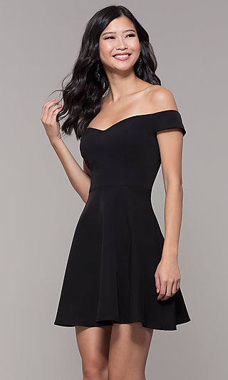 Off-Shoulder A-Line Little Black Party Dress