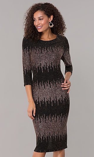 Knee-Length 3/4-Sleeve Holiday Party Dress