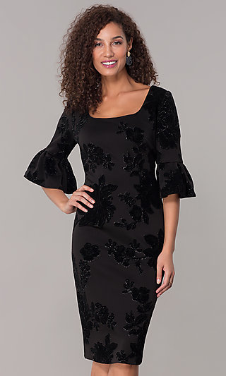 Knee-Length Glitter-Velvet Bell-Sleeve Party Dress
