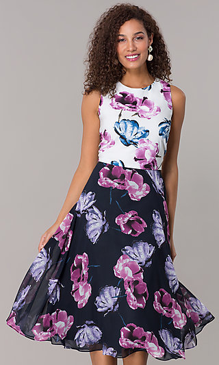 Floral-Print Knee-Length Navy Wedding-Guest Dress