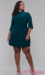 Image of mock-neck 3/4-sleeve plus short party dress. Style: JU-TI-t92231 Detail Image 3