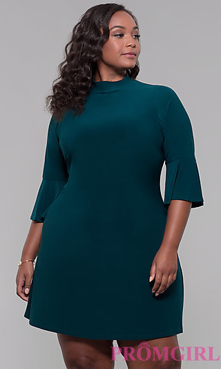 Mock-Neck 3/4-Sleeve Plus Short Party Dress