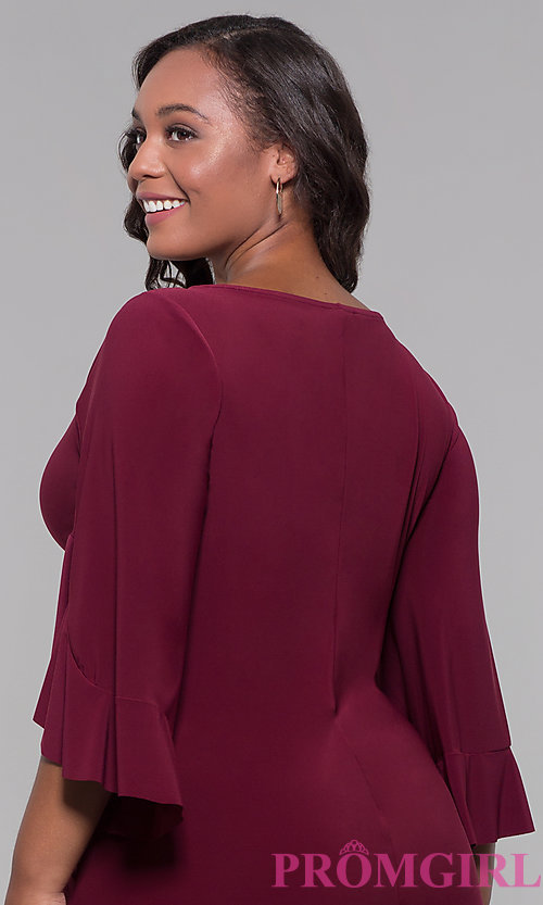 Image of knee-length plus-size 3/4-sleeve wedding guest dress. Style: JU-TI-t90129 Detail Image 2