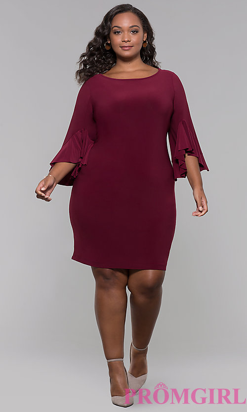 Image of knee-length plus-size 3/4-sleeve wedding guest dress. Style: JU-TI-t90129 Detail Image 3