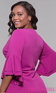 Image plus-size party dress with flounced 3/4 sleeves. Style: JU-TI-t91993 Detail Image 2