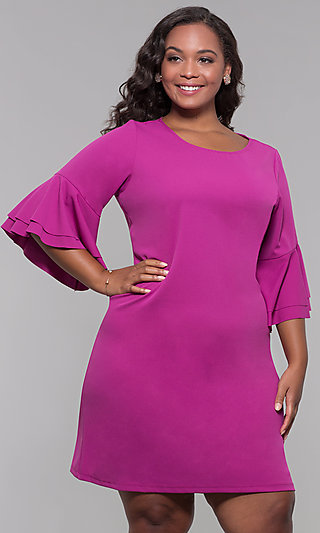 Plus-Size Party Dress with Flounced 3/4 Sleeves