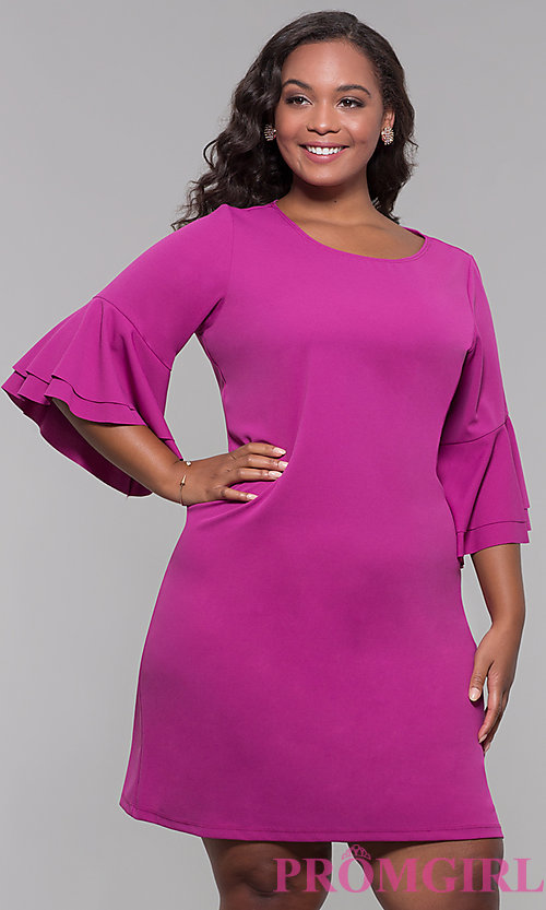 Image plus-size party dress with flounced 3/4 sleeves. Style: JU-TI-t91993 Front Image