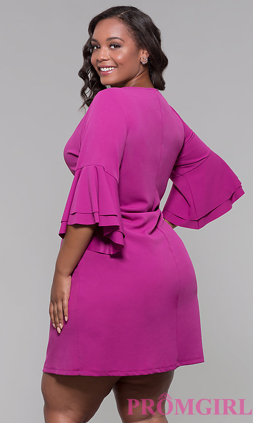 Image plus-size party dress with flounced 3/4 sleeves. Style: JU-TI-t91993 Back Image