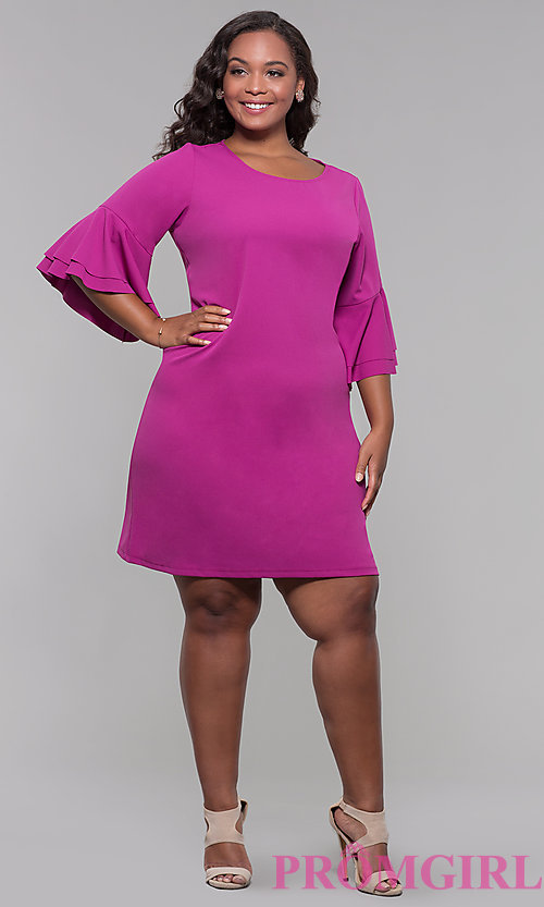 Image plus-size party dress with flounced 3/4 sleeves. Style: JU-TI-t91993 Detail Image 3