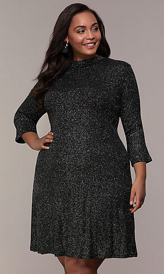 Short Glitter Knit Shift Plus-Size Party Dress