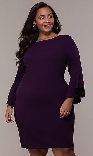 Plus-Size Short Sheath 3/4-Sleeve Party Dress