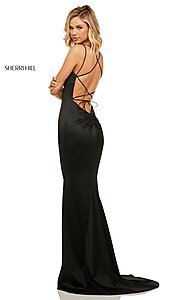 Image of open-back designer prom dress with scoop neckline. Style: SH-52613 Back Image